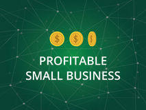 Profitable small business text illustration with three gold coins and constellation in green background Royalty Free Stock Photos
