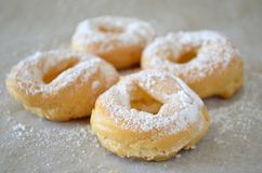 Profiterole rings with cream. And icing sugar Royalty Free Stock Images