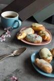 Profiteroles avec de la crème et l'écrimage de beurre du plat sur le fond gris Pause de pause-café Couleurs pastel Photos stock