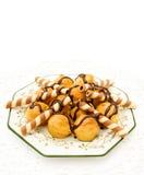 Profiteroles com waffles do chocolate Foto de Stock Royalty Free
