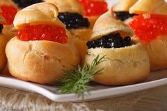Profiteroles frescos con macro roja y negra del caviar horizontal Imagen de archivo libre de regalías