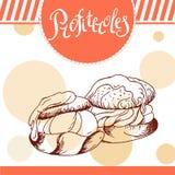 Profiteroles vektorkort Hand-dragen affisch med den calligraphic beståndsdelen Konstillustration söt symbol Fotografering för Bildbyråer