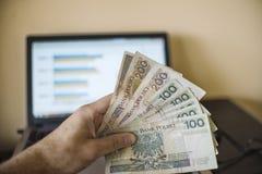 Profitez le concept graphique de graphique de croissance d'affaires, argent à disposition Photo libre de droits
