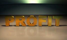 Profitieren Sie Text 3D im Gold Lizenzfreie Stockfotos