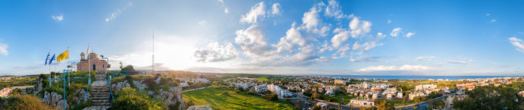 Profitis Elias Church and panoramic view of Protaras Stock Image