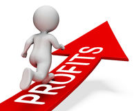 Profits Arrow Shows Male Income And Man 3d Rendering Royalty Free Stock Photo