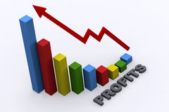 Profits bar chart. Business success bar graph rendered in 3D royalty free illustration