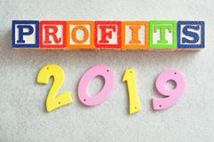 2019 Profits. In colorful letters isolated on a white background Stock Photography