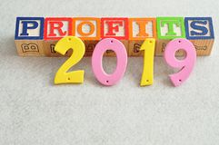 2019 Profits. In colorful letters  on a white background Stock Photo