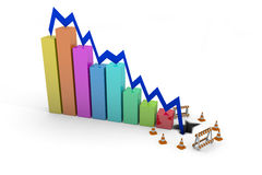 Profits down. Bar chart showing profits hit floor and crash Royalty Free Stock Photography