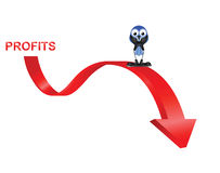 Profits down. Comical bird businessman with profits down isolated on white background Royalty Free Stock Images