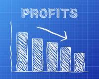Profits Down Blueprint. Decreasing graph and profits word on blueprint background Stock Image