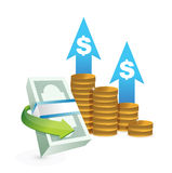Profits going up concept illustrations Royalty Free Stock Image