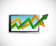 Profits graph over a tablet. concept illustration Royalty Free Stock Image