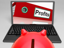 Profits Laptop  Means Financial Earnings And Acquisition. Profits Laptop Meaning Financial Earnings And Acquisition Royalty Free Stock Images