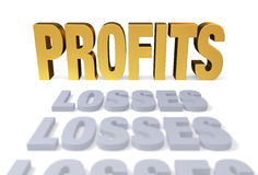 Profits At Last. A row of plain, gray LOSSESs lead to a bright, gold PROFITS.  Focus is on PROFITS. Isolated on white Stock Image