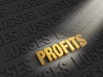 Profits Outshine Losses. A spotlight illuminates bright, gold PROFITS on a dark background of LOSSES Stock Image