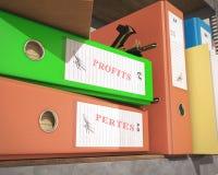 `profits` pertes` binder and folder. 3d rendering Royalty Free Stock Images