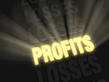 Profits Shine. On a dark background, brilliant light rays burst from a glowing, gold PROFITS in a row of LOSSES Stock Photos