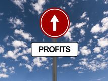 Profits sign. With arrow, blue sky and cloudscape background Royalty Free Stock Photos