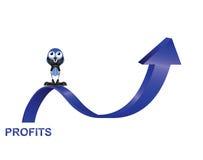Profits up. Comical bird businessman with profits up isolated on white background Royalty Free Stock Photos
