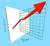 Profits up. A 3d graph showing profits shooting up jumping out of the screen stock illustration