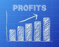 Profits Up Blueprint Stock Photos