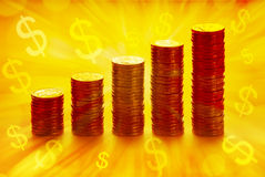 Profits Wealth And Money. 5 stacks of gold coins with golden lighting and dollar symbols Stock Photos