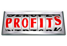 Profits Word Odomoter Dial Tracking Stock Images