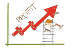 Profitto della costruzione dell'uomo sul grafico Fotografie Stock Libere da Diritti