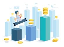 profitto L'uomo d'affari realizza un profitto Il simbolo di crescita professionale e commerciale royalty illustrazione gratis