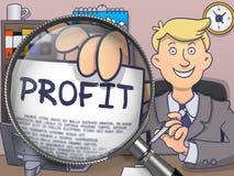 Profitto tramite la lente d'ingrandimento Doodle lo stile Immagini Stock Libere da Diritti