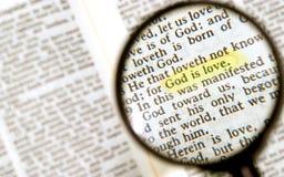Profonda frase in bibbia santa Fotografie Stock