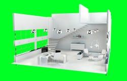 Profondeur de foyer sur le rendu 3D intérieur de bureau blanc moderne Photos libres de droits