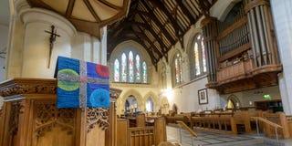 Profondità di campo della st Mary Church Pulpit Cloth Shallow immagini stock
