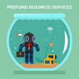 Profound business services. Business analyst with deep dive. Coin money, qualitatively and difficult. Vector illustration Royalty Free Stock Photography
