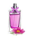 Profumo in bella bottiglia con il fiore rosa isolato su bianco Immagini Stock