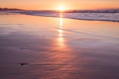 Profundidad baja de la puesta del sol del campo con el mar y la playa Fotos de archivo libres de regalías