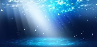 A profundidade da água do mar, o mundo subaquático, os raios do sol ilustração stock