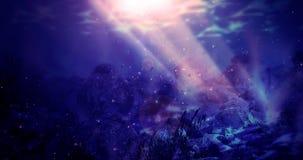 A profundidade da água do mar, o worldDepth subaquático da água do mar, a parte inferior do mar fotografia de stock