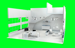 Profundidade de foco na rendição 3D interior do escritório branco moderno Fotos de Stock Royalty Free