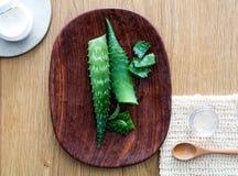 Progettando l'aloe organico casalingo vera affronti e cosmetici del corpo Fotografia Stock