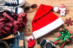 Progettando per il viaggio con il festival di Natale Fotografia Stock