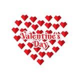 Progettazione accogliente felice di giorno di biglietti di S. Valentino illustrazione di stock