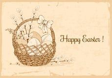 Progettazione accogliente felice di Pasqua retro illustrazione di stock