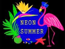 Progettazione al neon dell'insegna di vettore di estate illustrazione vettoriale