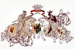 Progettazione araldica con due cavalieri sui cavalli illustrazione di stock
