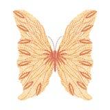 Progettazione arancio del materiale illustrativo del ricamo della farfalla per abbigliamento Fotografie Stock Libere da Diritti