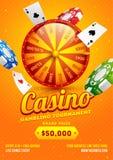 Progettazione arancio dell'aletta di filatoio o del modello con la ruota, i chip e le carte da gioco di roulette 3d per il torneo illustrazione di stock