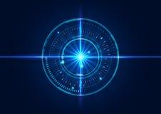 Progettazione astratta del fondo dei cerchi di tecnologia con effetto della luce Fotografia Stock Libera da Diritti